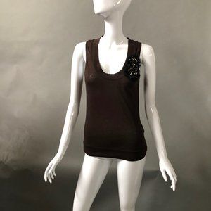 Dkny Tops - DKNY Chocolate Tank Top with Sequins and Beads Sm